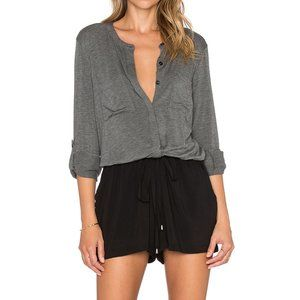 Splendid BNWT gray double pocket romper short sz L